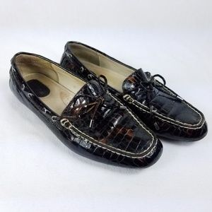 Sperry Brown Crocodile Pattern Loafers